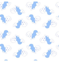 Seamless pattern with cute crawling baby boy vector