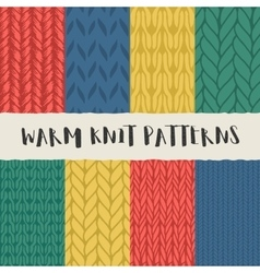 Set of 8 decorative knit seamless patterns vector