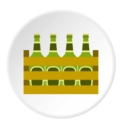 Beer bottles in wooden box icon flat style vector