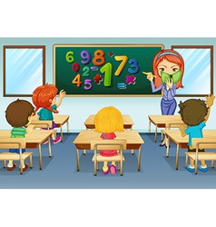 Math teacher teaching in classroom vector image