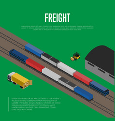 Delivery freight isometric banner vector