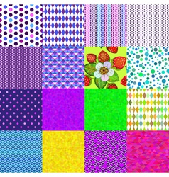 16 colorful geometric and floral seamless patterns vector image