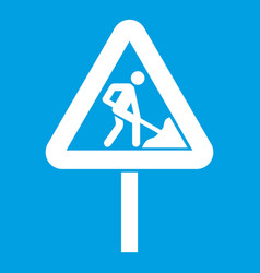 Road works sign icon white vector