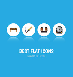 Flat icon electronics set of coil copper bobbin vector
