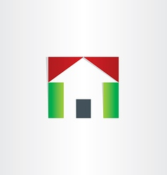 Red and green house icon vector