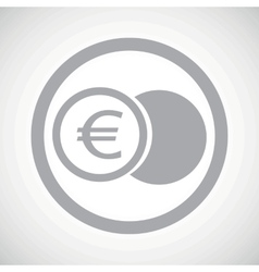 Grey euro coin sign icon vector