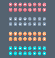 Plastic media buttons vector