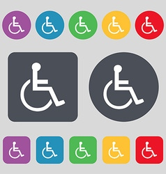 Disabled icon sign a set of 12 colored buttons vector