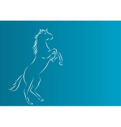 White silhouette of horse on the blue background vector