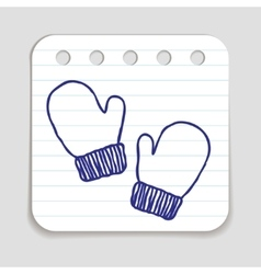 Doodle mittens icon vector