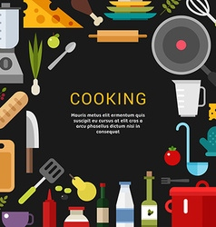 Cooking concept in flat design style for web vector