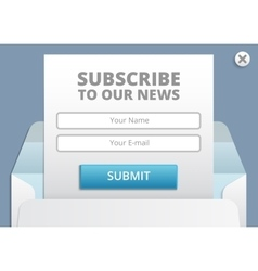 Subscribe to newsletter web and app form vector