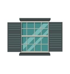 Window open interior frame glass construction vector