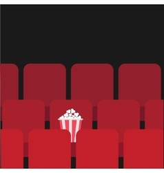 Popcorn box on red seat movie theater hall film vector