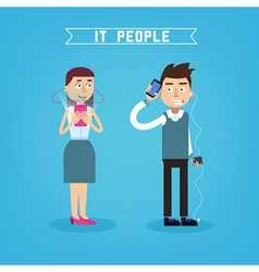It people man with phone woman with smart phone vector