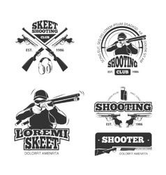 Retro weapons shooting labels emblems vector