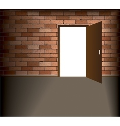 Open door in brick wall vector
