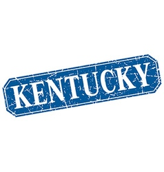 Kentucky blue square grunge retro style sign vector