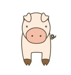 Pig cartoon icon animal farm design vector