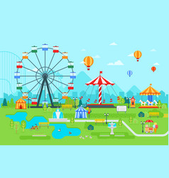 amusement park flat at daytime vector image vector image