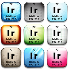 An icon showing the chemical iridium vector