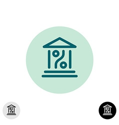 Bank percent icon vector