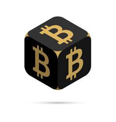 bitcoin black bitcoin cube vector image vector image