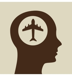 Blue silhouette head airplane icon design vector
