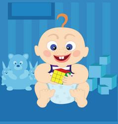 Cartoon cute baby with rubiks cube vector