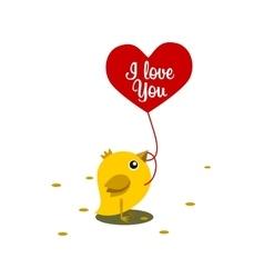 Chicken eat grain valentine day vector