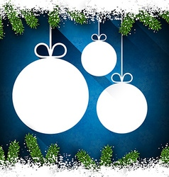 Christmas paper balls on blue background vector