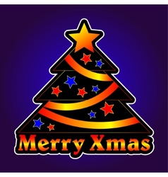 Christmas tree with stars on a violet background vector image vector image