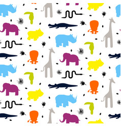 Colorful zoo animal silhouettes baby seamless vector