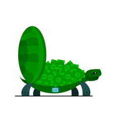 Cute turtle with money turtle safe icon vector