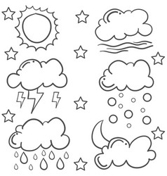Doodle of cloud various set vector