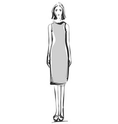 fashion models sketch cartoon girl dress vector image vector image