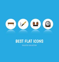 Flat icon electronics set of coil copper bobbin vector