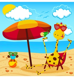 Giraffe and a bird on the beach vector