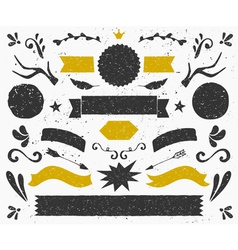 Gold and black vintage style design elements set vector