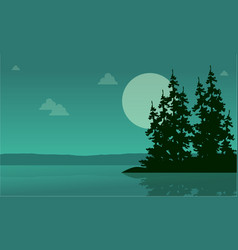 Lake scenery with spruce silhouette collection vector