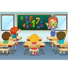 Math teacher teaching in classroom vector