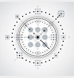 mechanical scheme monochrome engineering drawing vector image vector image