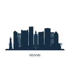 miami skyline monochrome silhouette vector image vector image