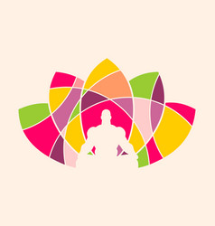 muscular man meditation vector image vector image