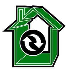 Recycle house icon vector