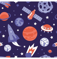 Seamless pattern with planets and stars vector