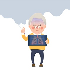 Senior Man Smoking Lung Problem vector image vector image