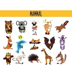 Set of cute cartoon animals mammals living in vector