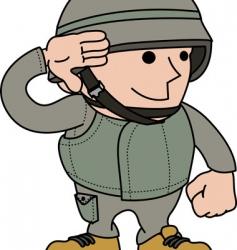 soldier saluting vector image vector image