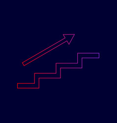 Stair with arrow line icon with gradient vector